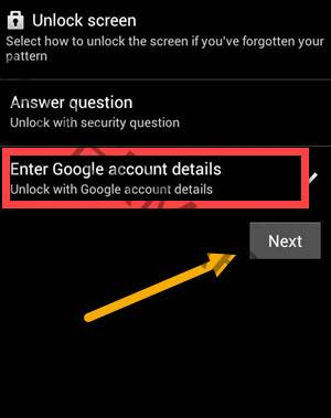 unlock android phone without password Using Google account